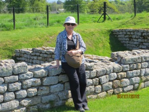 Tourist resting at Roman Fort